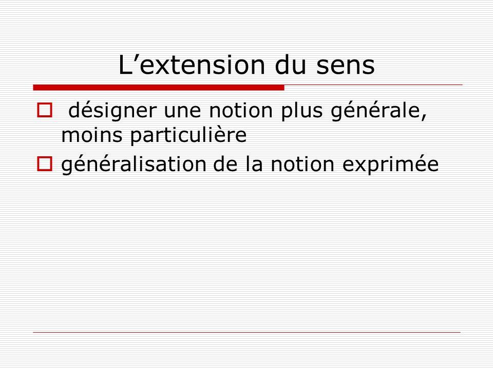 Lextension du sens désigner une notion plus générale, moins particulière généralisation de la notion exprimée
