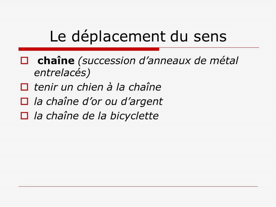 Le déplacement du sens chaîne (succession danneaux de métal entrelacés) tenir un chien à la chaîne la chaîne dor ou dargent la chaîne de la bicyclette