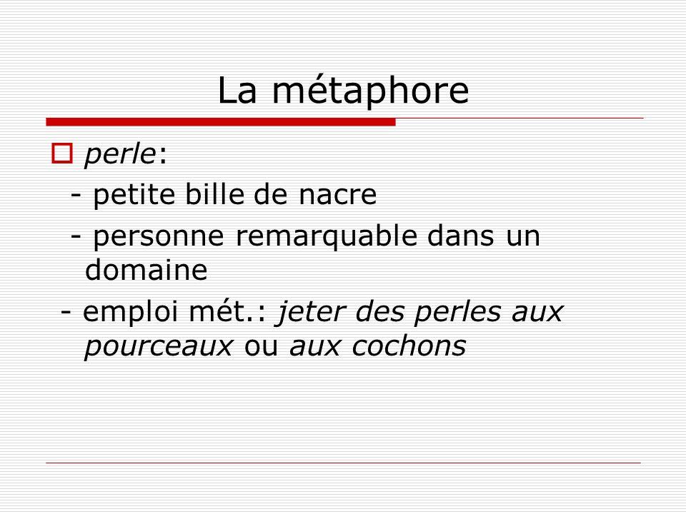 La métaphore perle: - petite bille de nacre - personne remarquable dans un domaine - emploi mét.: jeter des perles aux pourceaux ou aux cochons