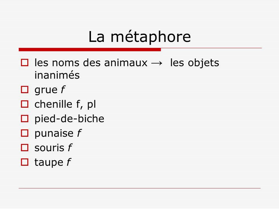 La métaphore les noms des animaux les objets inanimés grue f chenille f, pl pied-de-biche punaise f souris f taupe f