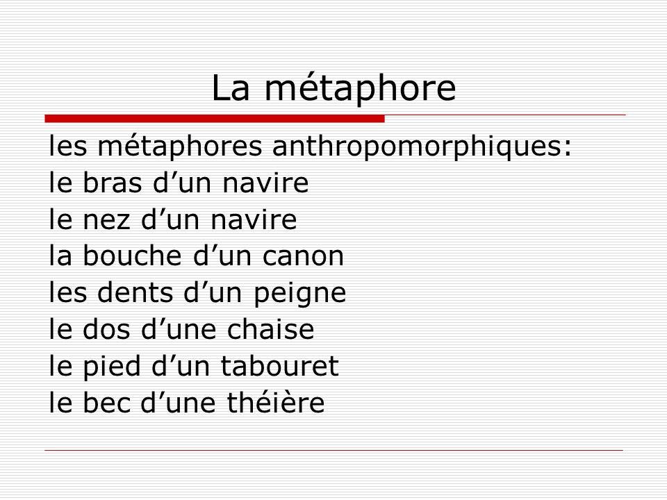 La métaphore les métaphores anthropomorphiques: le bras dun navire le nez dun navire la bouche dun canon les dents dun peigne le dos dune chaise le pied dun tabouret le bec dune théière