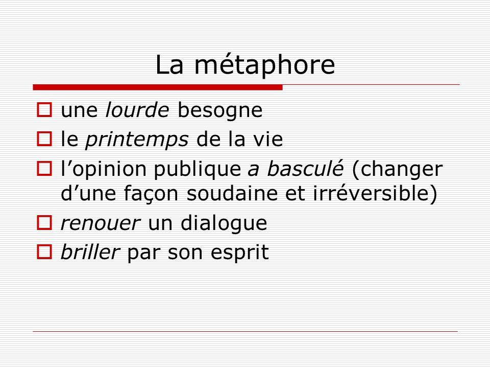 La métaphore une lourde besogne le printemps de la vie lopinion publique a basculé (changer dune façon soudaine et irréversible) renouer un dialogue briller par son esprit