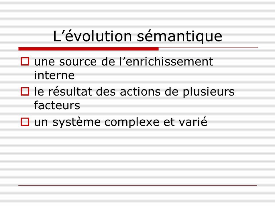 Lévolution sémantique une source de lenrichissement interne le résultat des actions de plusieurs facteurs un système complexe et varié