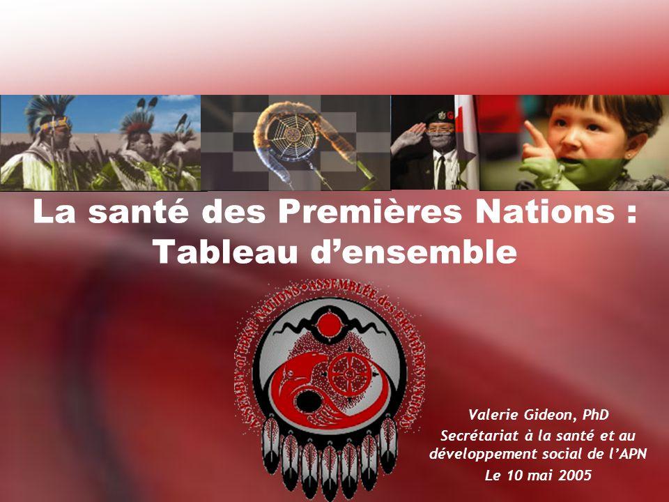 La santé des Premières Nations : Tableau densemble Valerie Gideon, PhD Secrétariat à la santé et au développement social de lAPN Le 10 mai 2005