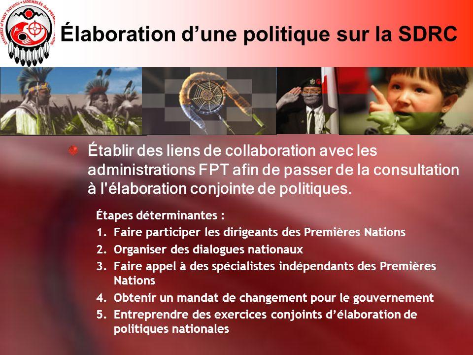 Élaboration dune politique sur la SDRC Établir des liens de collaboration avec les administrations FPT afin de passer de la consultation à l élaboration conjointe de politiques.