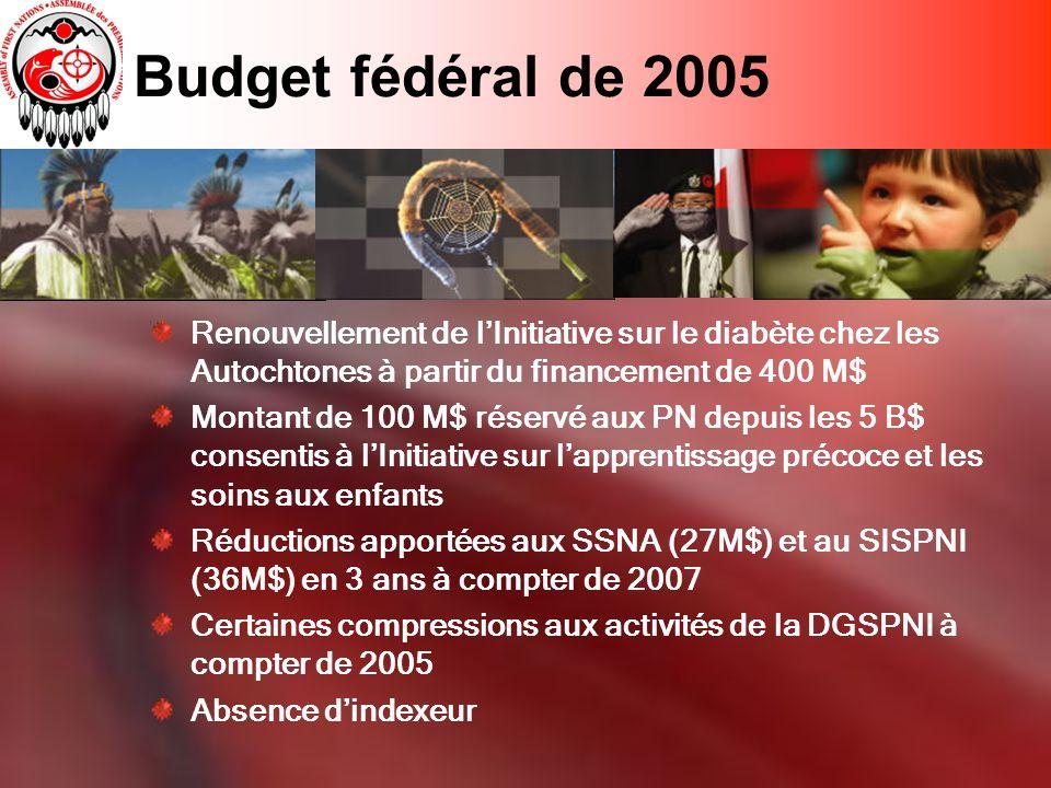Budget fédéral de 2005 Renouvellement de lInitiative sur le diabète chez les Autochtones à partir du financement de 400 M$ Montant de 100 M$ réservé aux PN depuis les 5 B$ consentis à lInitiative sur lapprentissage précoce et les soins aux enfants Réductions apportées aux SSNA (27M$) et au SISPNI (36M$) en 3 ans à compter de 2007 Certaines compressions aux activités de la DGSPNI à compter de 2005 Absence dindexeur