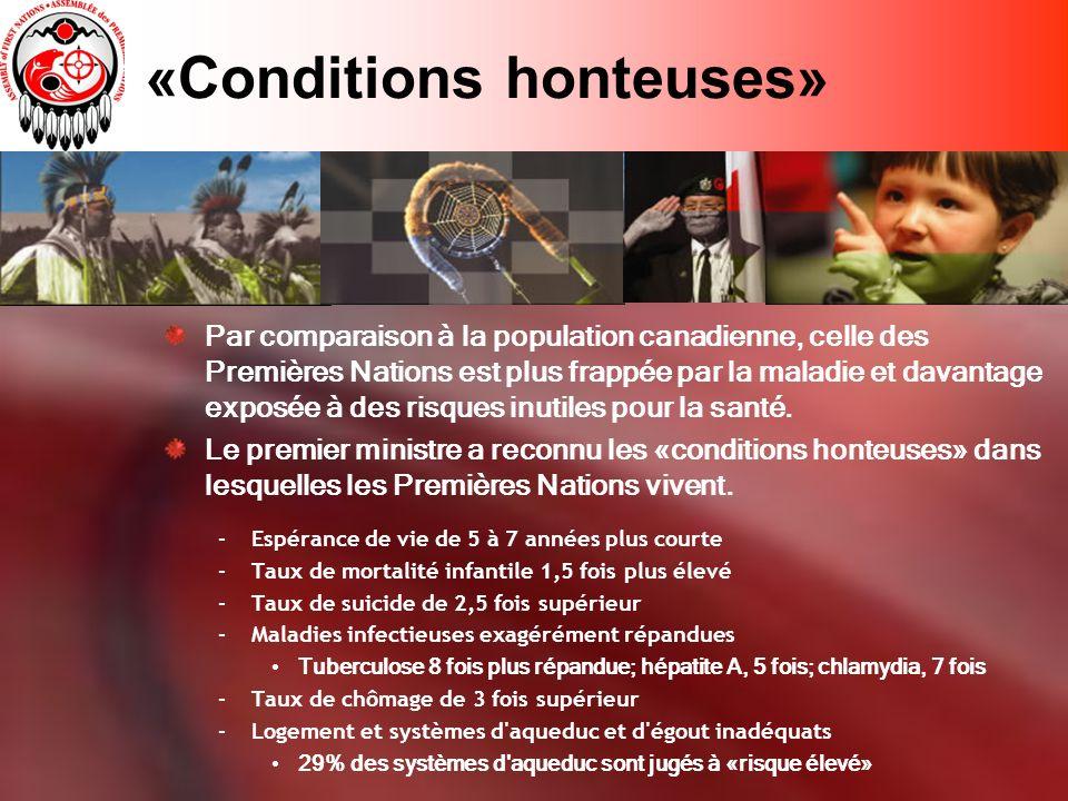 «Conditions honteuses» Par comparaison à la population canadienne, celle des Premières Nations est plus frappée par la maladie et davantage exposée à des risques inutiles pour la santé.