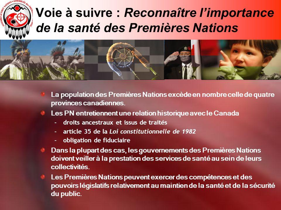 Voie à suivre : Reconnaître limportance de la santé des Premières Nations La population des Premières Nations excède en nombre celle de quatre provinces canadiennes.