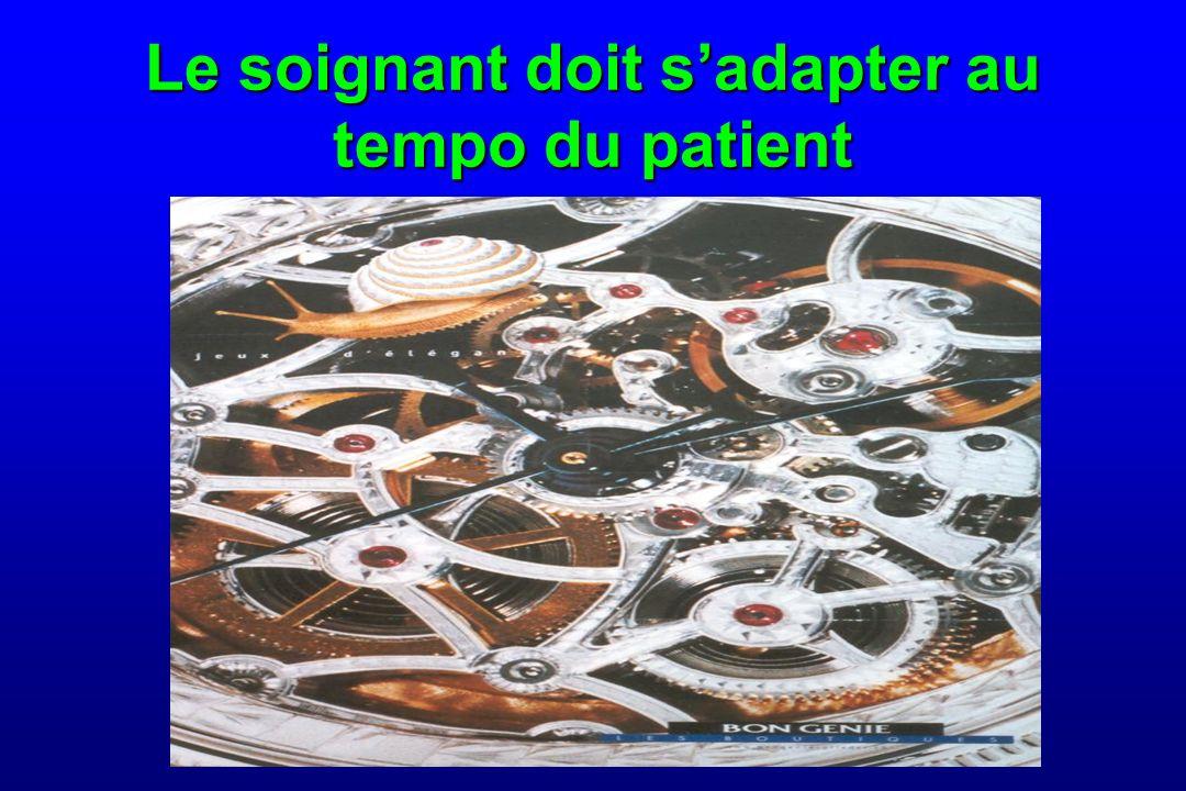 Le soignant doit sadapter au tempo du patient
