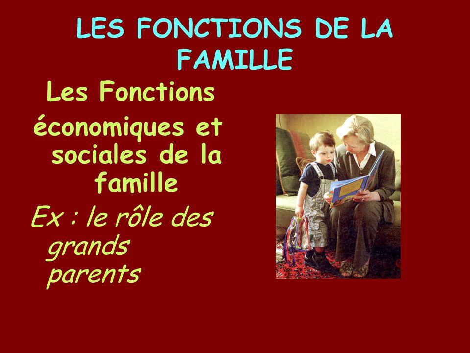 LES FONCTIONS DE LA FAMILLE Les Fonctions économiques et sociales de la famille Ex : le rôle des grands parents