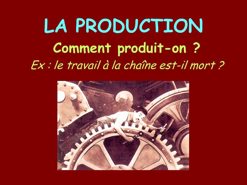 LA PRODUCTION Comment produit-on ? Ex : le travail à la chaîne est-il mort ?