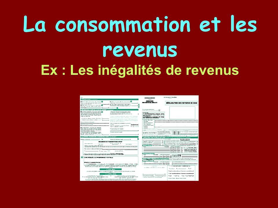 La consommation et les revenus Ex : Les inégalités de revenus