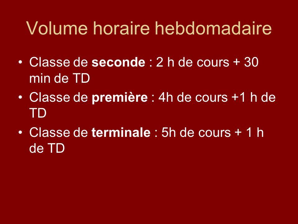 Volume horaire hebdomadaire Classe de seconde : 2 h de cours + 30 min de TD Classe de première : 4h de cours +1 h de TD Classe de terminale : 5h de cours + 1 h de TD