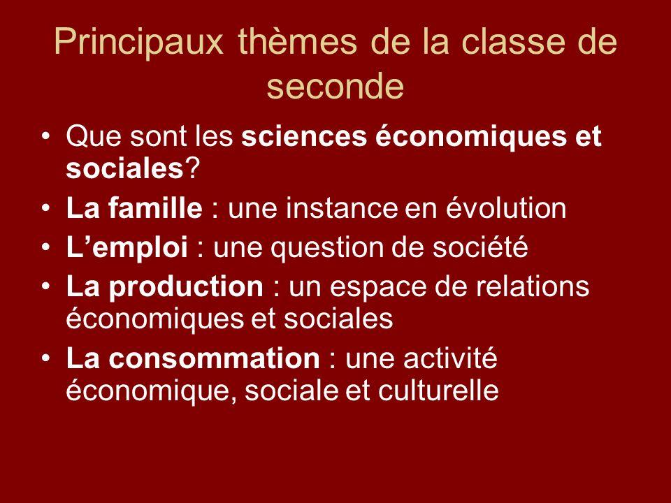 Principaux thèmes de la classe de seconde Que sont les sciences économiques et sociales.
