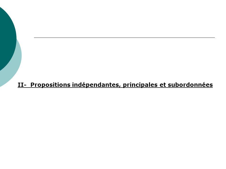 E) Les subordonnées infinitives et les subordonnées participiales Linfinitif ou le participe sont vraiment le noyau de la proposition.