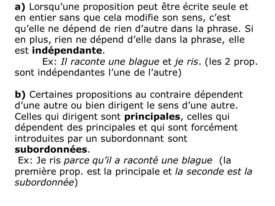 III- Mode de liaison entre les propositions dans une phrase