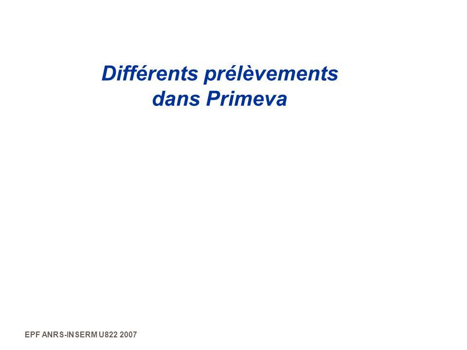 EPF ANRS-INSERM U822 2007 Différents prélèvements dans Primeva