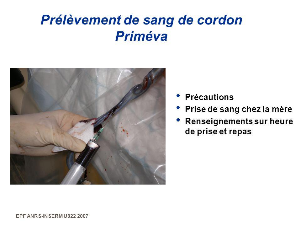 EPF ANRS-INSERM U822 2007 Prélèvement de sang de cordon Priméva Précautions Prise de sang chez la mère Renseignements sur heure de prise et repas