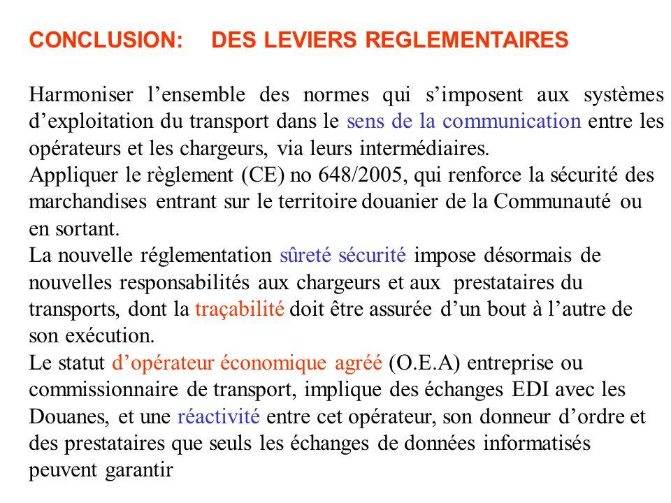 CONCLUSION: DES LEVIERS REGLEMENTAIRES Harmoniser lensemble des normes qui simposent aux systèmes dexploitation du transport dans le sens de la communication entre les opérateurs et les chargeurs, via leurs intermédiaires.