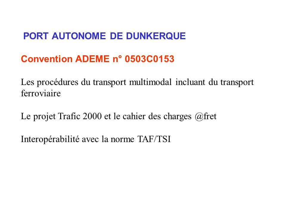 PORT AUTONOME DE DUNKERQUE Convention ADEME n° 0503C0153 Les procédures du transport multimodal incluant du transport ferroviaire Le projet Trafic 2000 et le cahier des charges @fret Interopérabilité avec la norme TAF/TSI