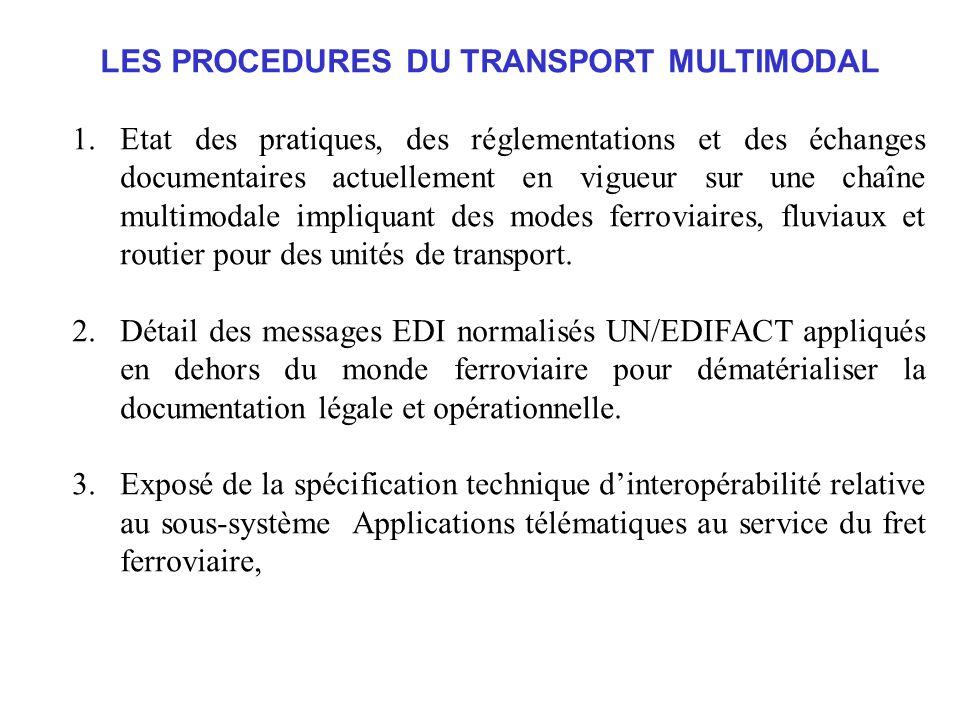LES PROCEDURES DU TRANSPORT MULTIMODAL 1.Etat des pratiques, des réglementations et des échanges documentaires actuellement en vigueur sur une chaîne multimodale impliquant des modes ferroviaires, fluviaux et routier pour des unités de transport.