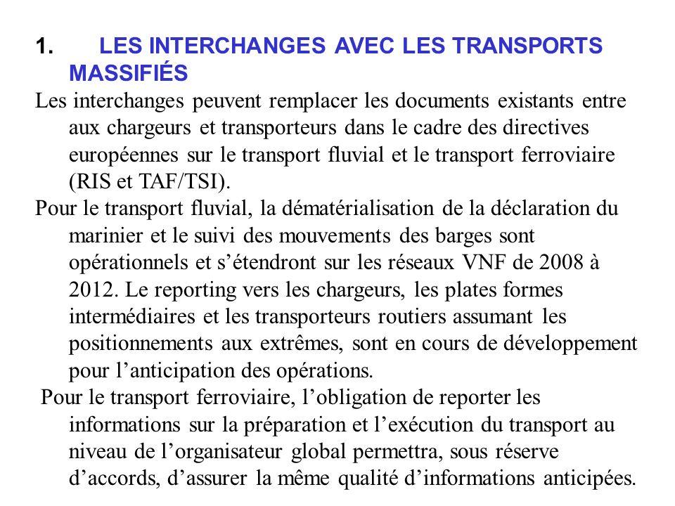 1. LES INTERCHANGES AVEC LES TRANSPORTS MASSIFIÉS Les interchanges peuvent remplacer les documents existants entre aux chargeurs et transporteurs dans