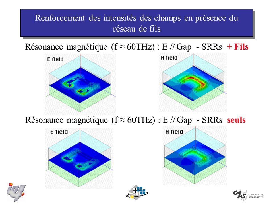 Renforcement des intensités des champs en présence du réseau de fils Résonance magnétique (f 60THz) : E // Gap - SRRs + Fils Résonance magnétique (f 60THz) : E // Gap - SRRs seuls