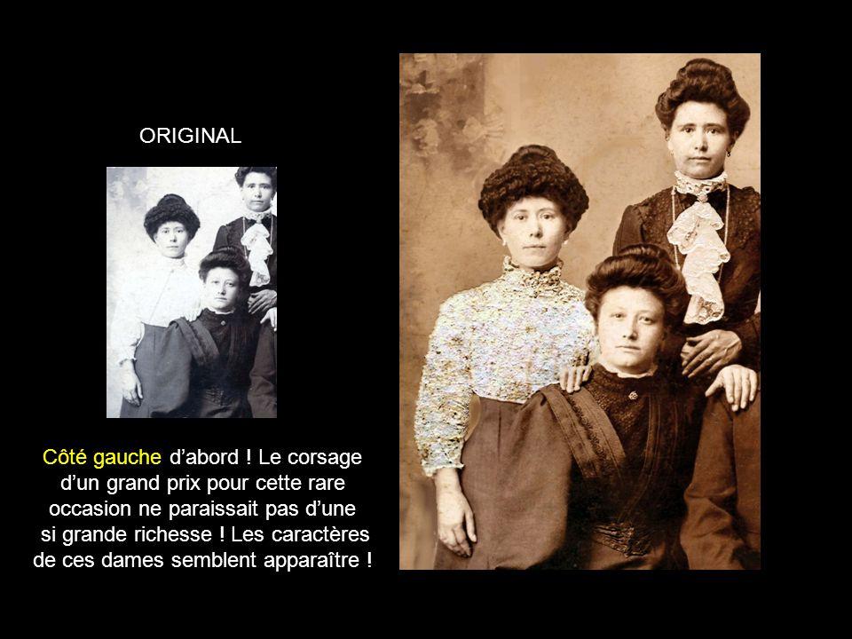 Les corsages et jabots sont devenus invisibles Beaucoup de rayures et griffures à effacer Belle photo de famille qui mérite une sérieuse restauration.