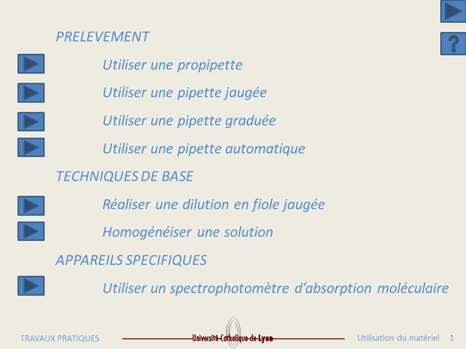 Utilisation du matériel 1 TRAVAUX PRATIQUES PRELEVEMENT Utiliser une propipette Utiliser une pipette jaugée Utiliser une pipette graduée Utiliser une pipette automatique TECHNIQUES DE BASE Réaliser une dilution en fiole jaugée Homogénéiser une solution APPAREILS SPECIFIQUES Utiliser un spectrophotomètre dabsorption moléculaire