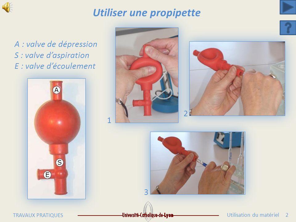 Utilisation du matériel 2 TRAVAUX PRATIQUES Utiliser une propipette A : valve de dépression S : valve daspiration E : valve découlement 1 2 3