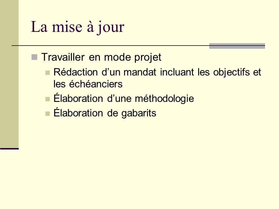 La mise à jour Travailler en mode projet Rédaction dun mandat incluant les objectifs et les échéanciers Élaboration dune méthodologie Élaboration de g