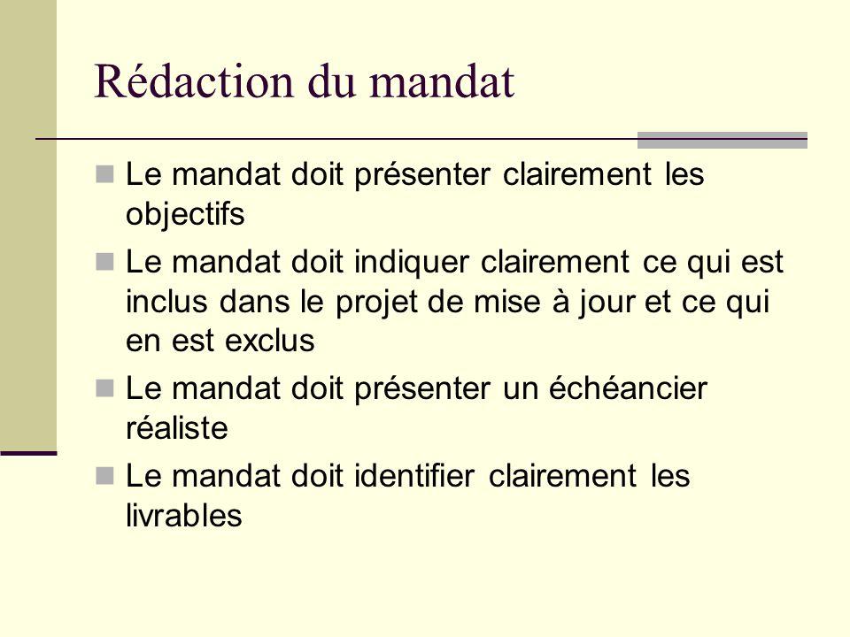 Rédaction du mandat Le mandat doit présenter clairement les objectifs Le mandat doit indiquer clairement ce qui est inclus dans le projet de mise à jo