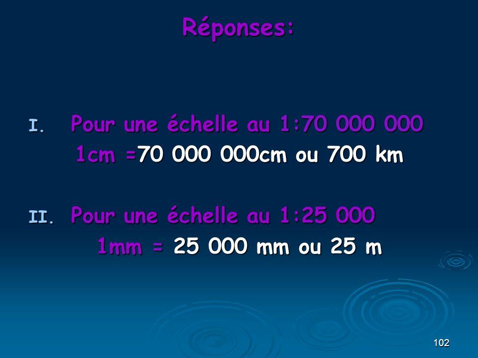 102 Réponses: I. Pour une échelle au 1:70 000 000 1cm =70 000 000cm ou 700 km II. Pour une échelle au 1:25 000 1mm = 25 000 mm ou 25 m
