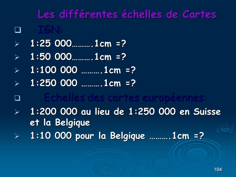 104 Les différentes échelles de Cartes IGN: IGN: 1:25 000……….1cm =? 1:25 000……….1cm =? 1:50 000……….1cm =? 1:50 000……….1cm =? 1:100 000 ……….1cm =? 1:10