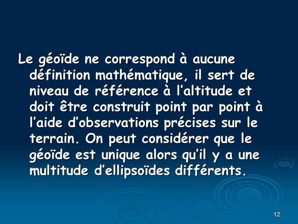12 Le géoïde ne correspond à aucune définition mathématique, il sert de niveau de référence à laltitude et doit être construit point par point à laide dobservations précises sur le terrain.
