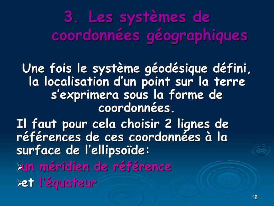 18 Une fois le système géodésique défini, la localisation dun point sur la terre sexprimera sous la forme de coordonnées. Il faut pour cela choisir 2