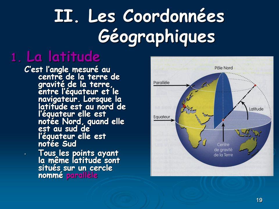 19 II.Les Coordonnées Géographiques 1. La latitude Cest langle mesuré au centre de la terre de gravité de la terre, entre léquateur et le navigateur.