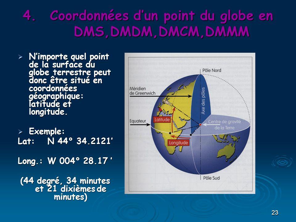 23 4.Coordonnées dun point du globe en DMS,DMDM,DMCM,DMMM Nimporte quel point de la surface du globe terrestre peut donc être situé en coordonnées géographique: latitude et longitude.