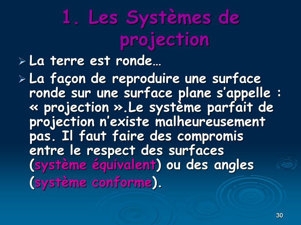 30 1.Les Systèmes de projection La terre est ronde… La terre est ronde… La façon de reproduire une surface ronde sur une surface plane sappelle : « pr