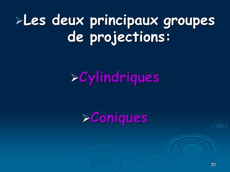 31 Les deux principaux groupes de projections: Les deux principaux groupes de projections: Cylindriques Cylindriques Coniques Coniques