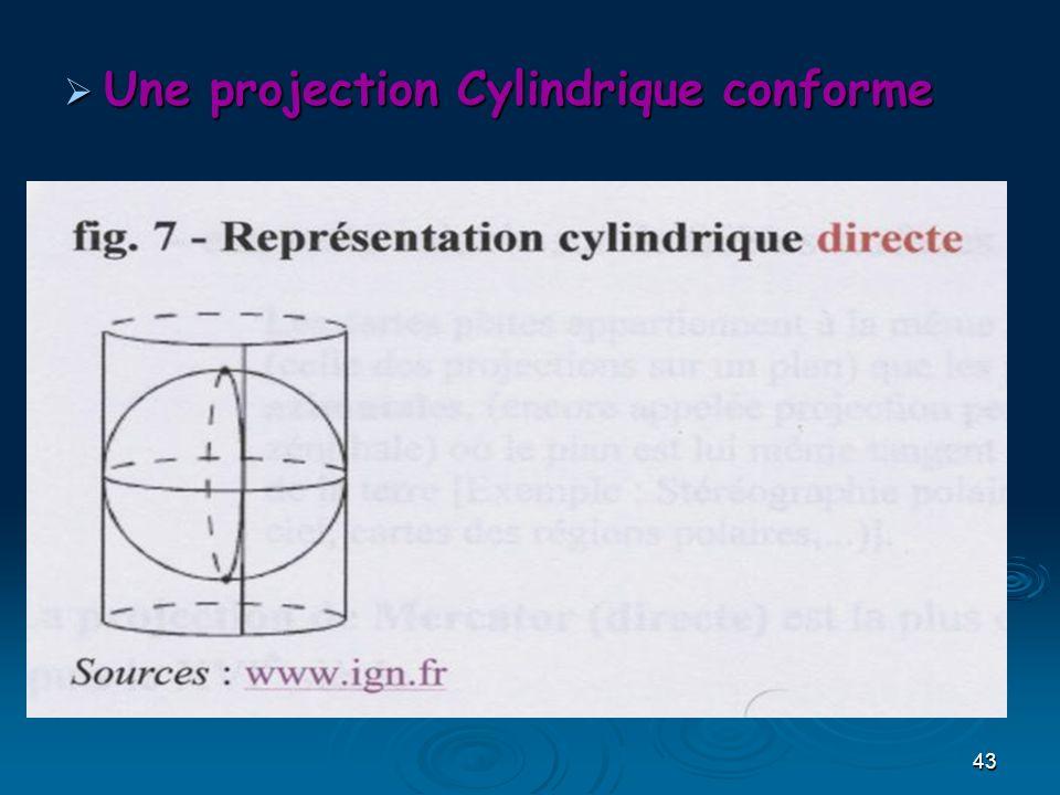 43 Une projection Cylindrique conforme Une projection Cylindrique conforme
