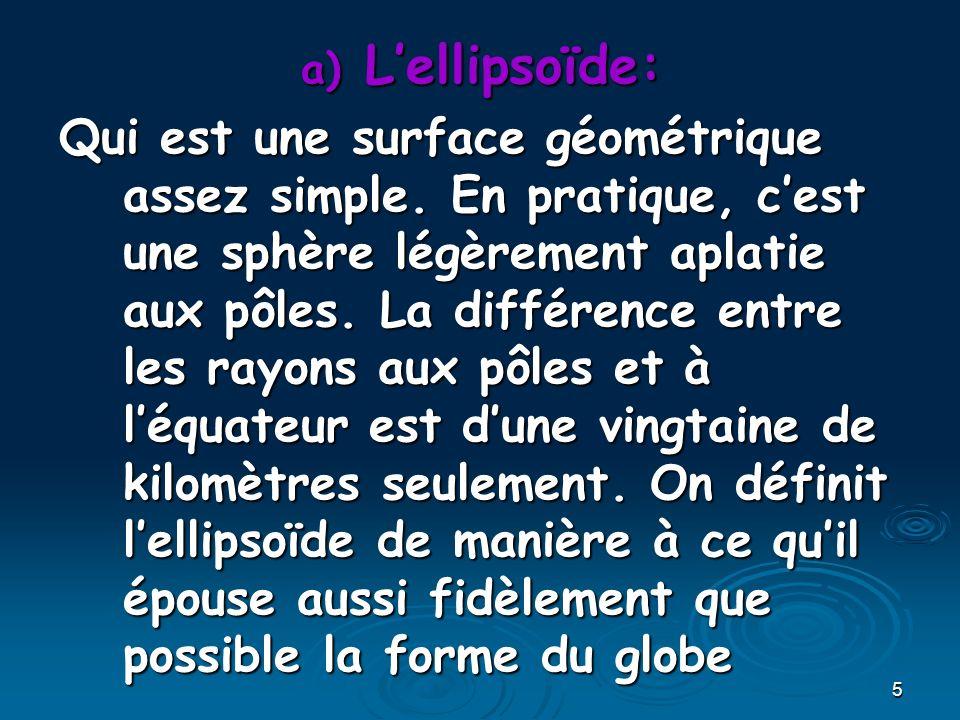 5 a) Lellipsoïde: Qui est une surface géométrique assez simple. En pratique, cest une sphère légèrement aplatie aux pôles. La différence entre les ray