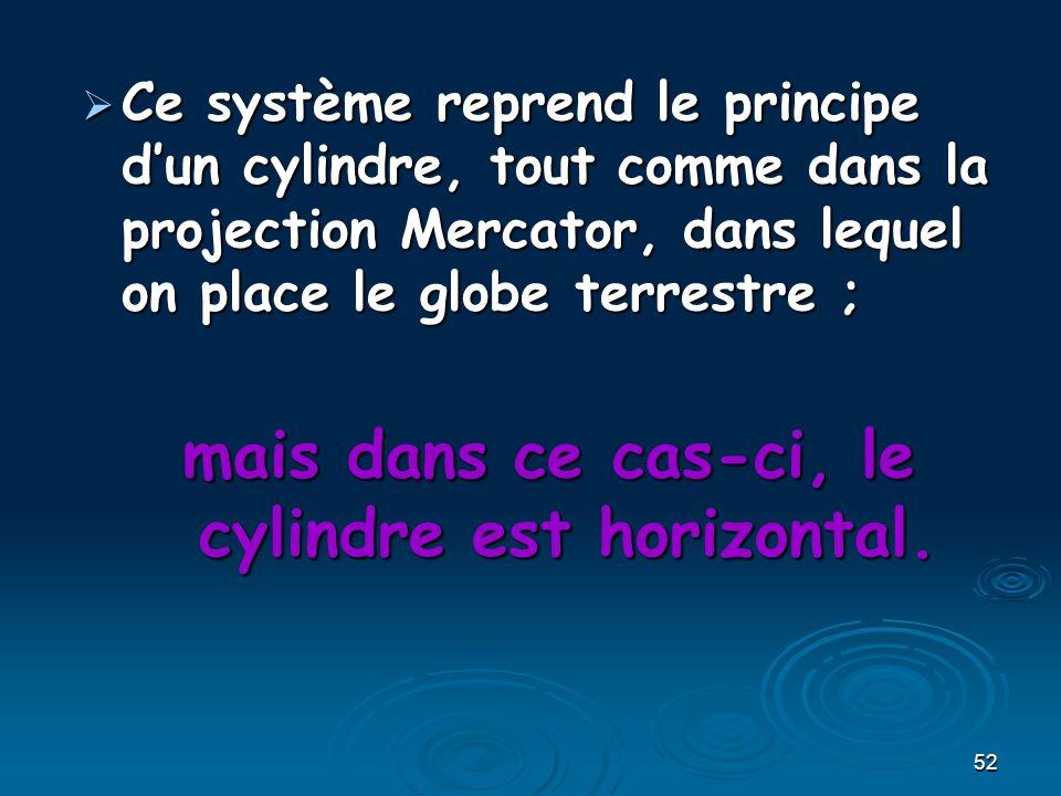 52 Ce système reprend le principe dun cylindre, tout comme dans la projection Mercator, dans lequel on place le globe terrestre ; Ce système reprend le principe dun cylindre, tout comme dans la projection Mercator, dans lequel on place le globe terrestre ; mais dans ce cas-ci, le cylindre est horizontal.