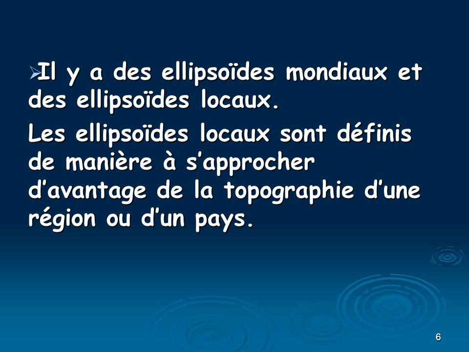 6 Il y a des ellipsoïdes mondiaux et des ellipsoïdes locaux. Il y a des ellipsoïdes mondiaux et des ellipsoïdes locaux. Les ellipsoïdes locaux sont dé