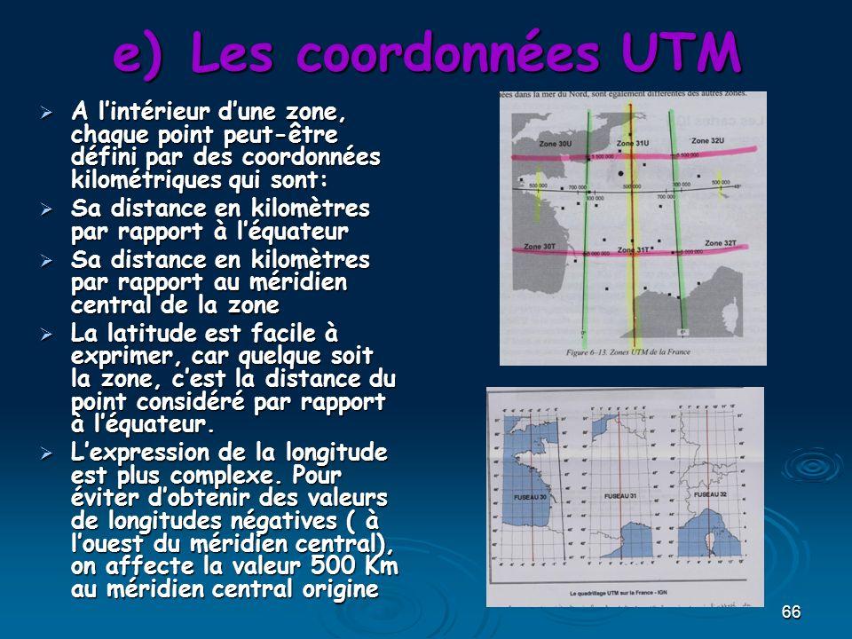 66 e)Les coordonnées UTM A lintérieur dune zone, chaque point peut-être défini par des coordonnées kilométriques qui sont: A lintérieur dune zone, chaque point peut-être défini par des coordonnées kilométriques qui sont: Sa distance en kilomètres par rapport à léquateur Sa distance en kilomètres par rapport à léquateur Sa distance en kilomètres par rapport au méridien central de la zone Sa distance en kilomètres par rapport au méridien central de la zone La latitude est facile à exprimer, car quelque soit la zone, cest la distance du point considéré par rapport à léquateur.