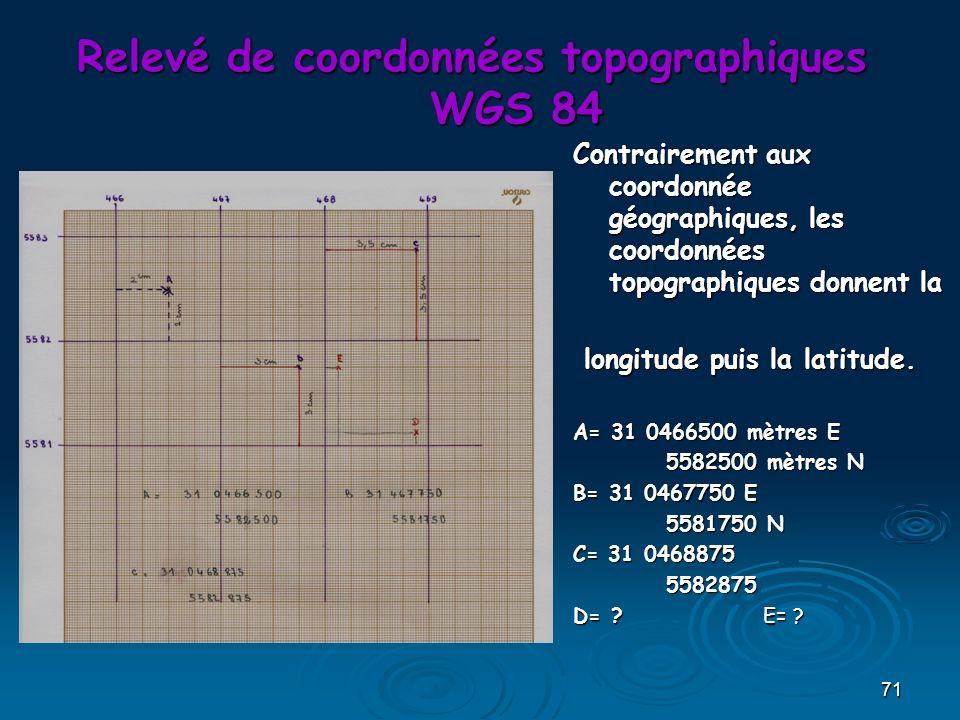 71 Relevé de coordonnées topographiques WGS 84 Contrairement aux coordonnée géographiques, les coordonnées topographiques donnent la longitude puis la latitude.