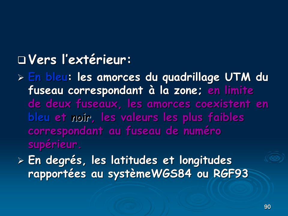 90 Vers lextérieur: Vers lextérieur: En bleu: les amorces du quadrillage UTM du fuseau correspondant à la zone; en limite de deux fuseaux, les amorces
