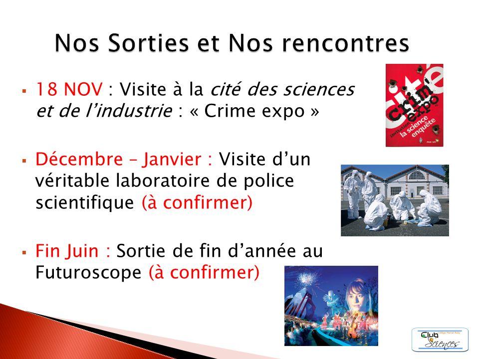 18 NOV : Visite à la cité des sciences et de lindustrie : « Crime expo » Décembre – Janvier : Visite dun véritable laboratoire de police scientifique