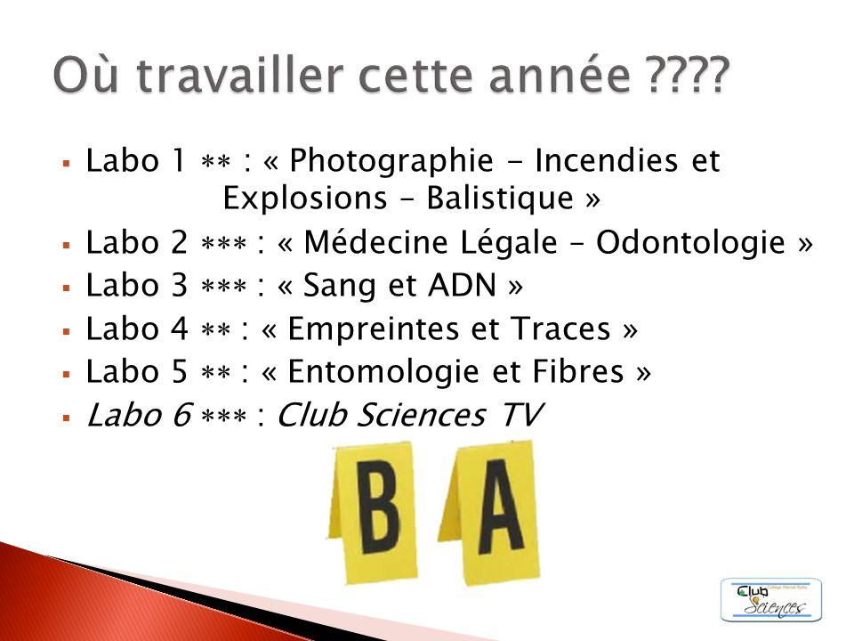 Labo 1 : « Photographie - Incendies et Explosions – Balistique » Labo 2 : « Médecine Légale – Odontologie » Labo 3 : « Sang et ADN » Labo 4 : « Emprei