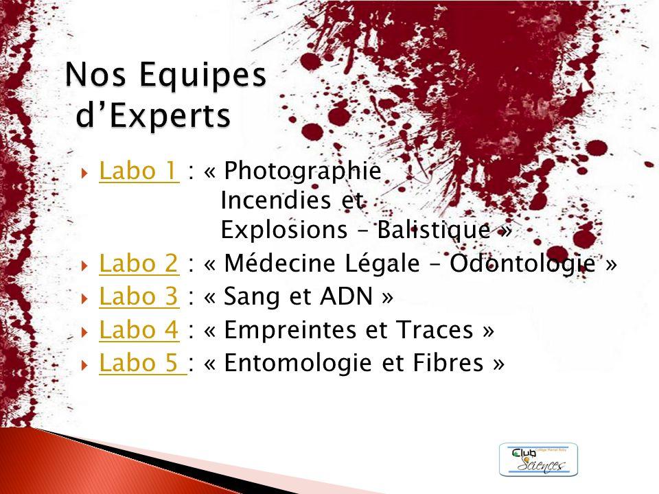 Labo 1 : « Photographie Incendies et Explosions – Balistique » Labo 1 Labo 2 : « Médecine Légale – Odontologie » Labo 2 Labo 3 : « Sang et ADN » Labo